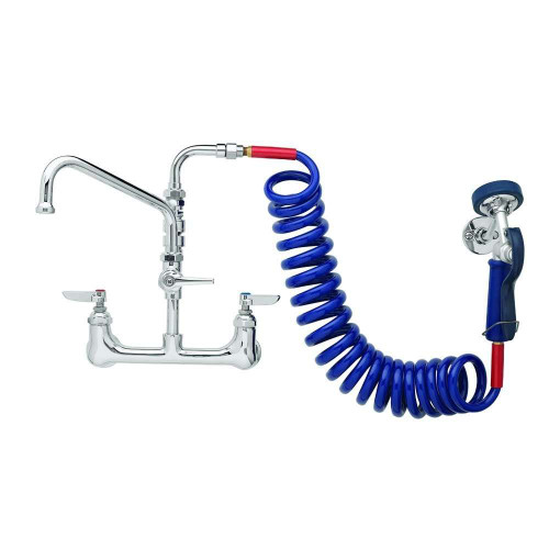 """T&S 8"""" Wall Faucet With Spout & Sprayer"""