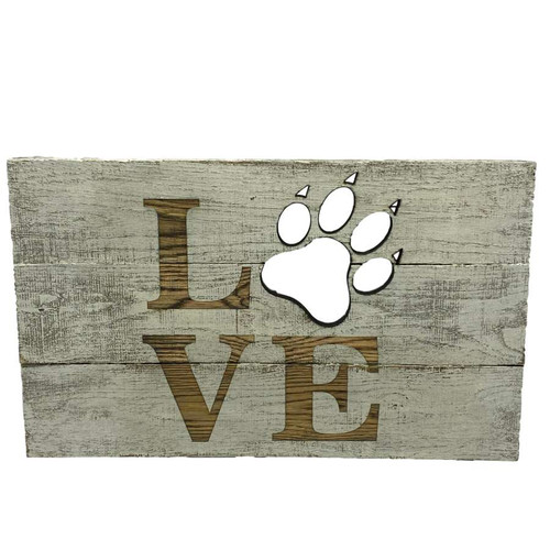 Plaque - LOVE With Paw Cutout