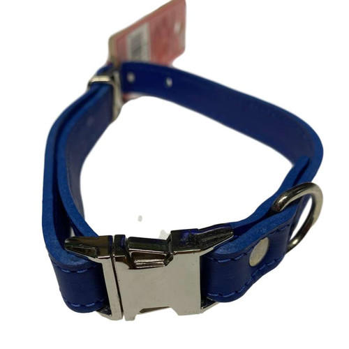 "Leather Collar 12"" - 16"" Blue"