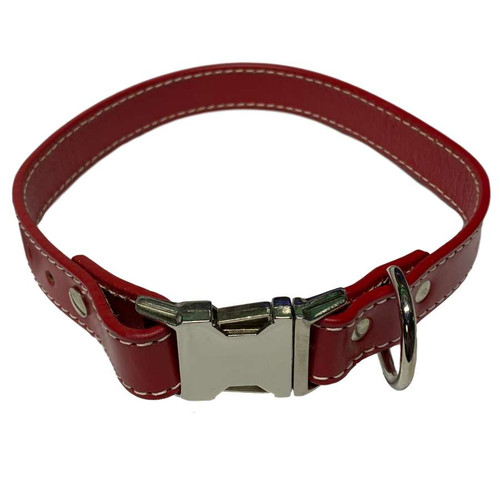 "Leather Collar 16"" - 18"" Red"