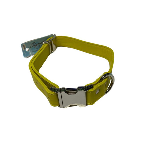"Leather Collar 18"" - 22"" Yellow"