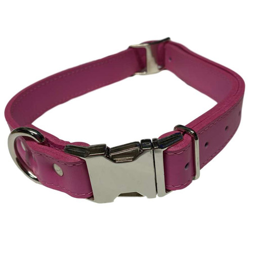 """Leather Collar 22"""" - 26"""" Pink"""
