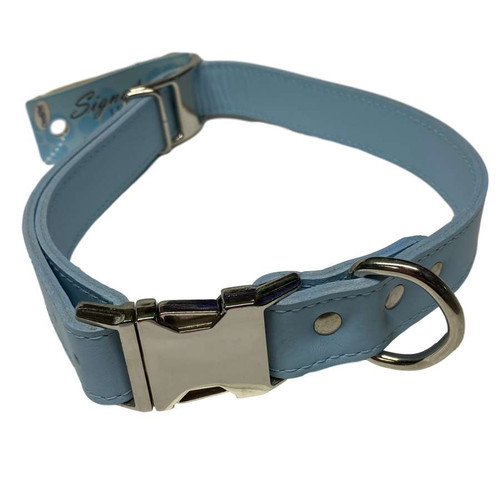 "Leather Collar 22"" - 26"" Baby Blue"