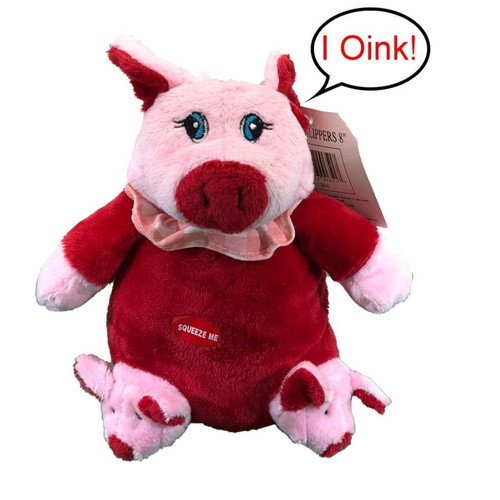 Piggy Plush Toy With Slippers - 8""