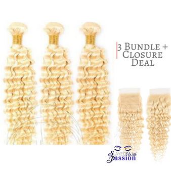 Deepwave  613 Deluxe Bundle Deal  3 Bundles + Closure Closure material: Swiss transparent lace 613 blonde 4x4 closure