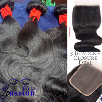 Deluxe 3 Bundle deal + Closure texture: Bodywave Lace material: Swiss transparent  3 bundle deal  indian  4x4 closure