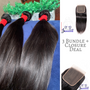 Deluxe 3 Bundle deal + Closure texture: Straight Lace material: Swiss transparent  3 bundle deal  indian Straight 4x4 closure