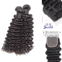 Deluxe 3 Bundle deal + Closure texture: Bodywave Lace material: Swiss transparent  3 bundle deal  indian Deepwave 4x4 closure