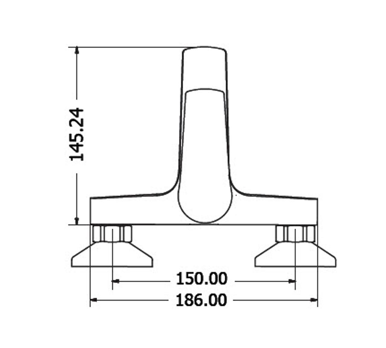 Bath Tub Faucet Chrome OPTIMA 00-2502 dimensions
