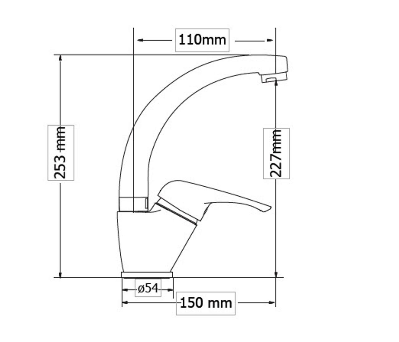 High Spout Washbasin mixer ELIT dimensions