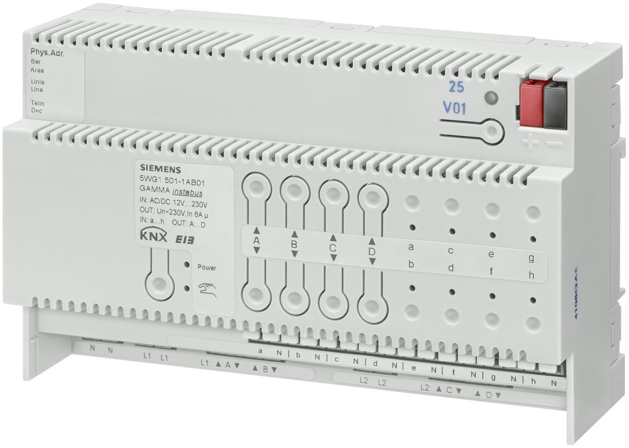 Siemens 5WG1501-1AB01, N 501/01Combination blind actuator 4 x AC 230 V, 6 A, 8 x binary inputs