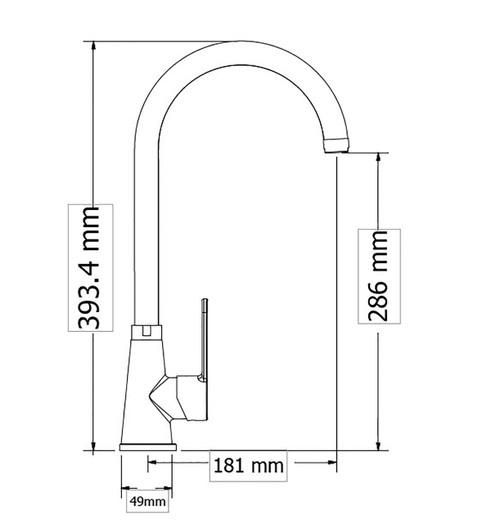 Sink mixer OMEGA Heavy duty, Heavy duty spout U dimensions
