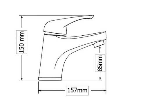 High Spout Washbasin faucet ELIT dimensions