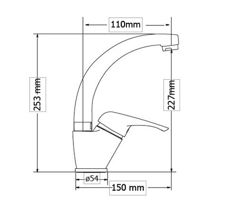 High Spout Washbasin mixer ELIT dimensions