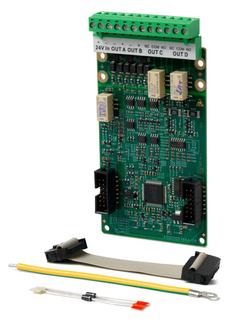 FCA1203-Z1 is an output card and provides 2 supervised outputs and 2 relay outputs