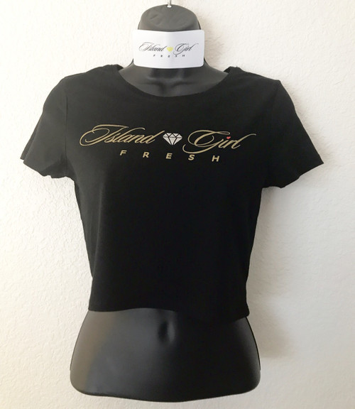 """Diamond Girl"" BLack & GOLD Crop"