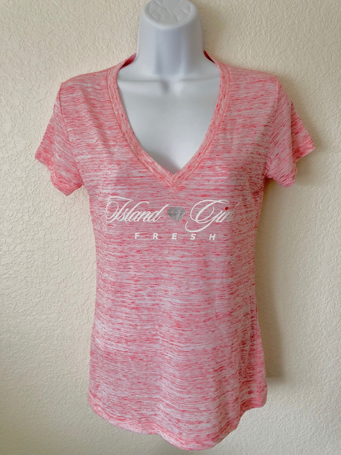 """Diamond Girl"" Pink Marble & White Deep V-Neck"