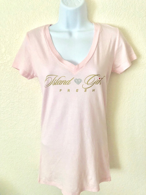 """Diamond Girl"" Soft Pink & Gold Deep V-Neck"