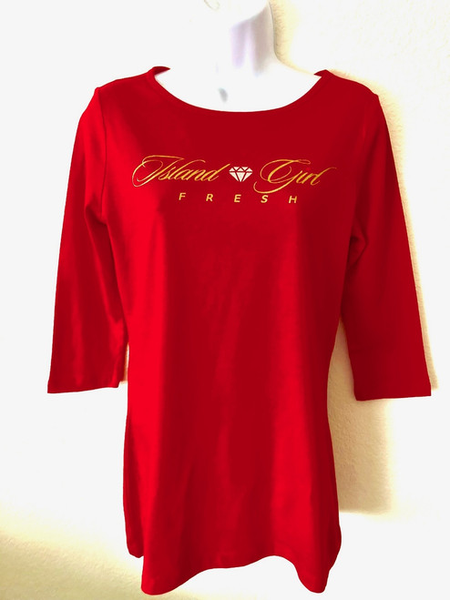 """Diamond Girl"" Red & Gold BoatNeck"