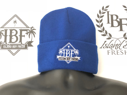 """Diamond Pyramids"" Royal & White (Cuff Beanie)"