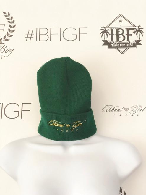 """""""Diamond Girl"""" Green & Gold (Cuff Beanie)"""