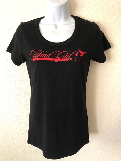 """Fly Love"" Scoop Neck Black & Red"