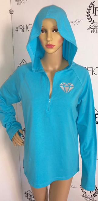 """Diamond Girl"" Short Zip Hoodie Turquoise & Silver"