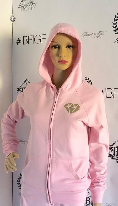 """""""Diamond Girl"""" Pink Long Zip Hoodie Tops"""