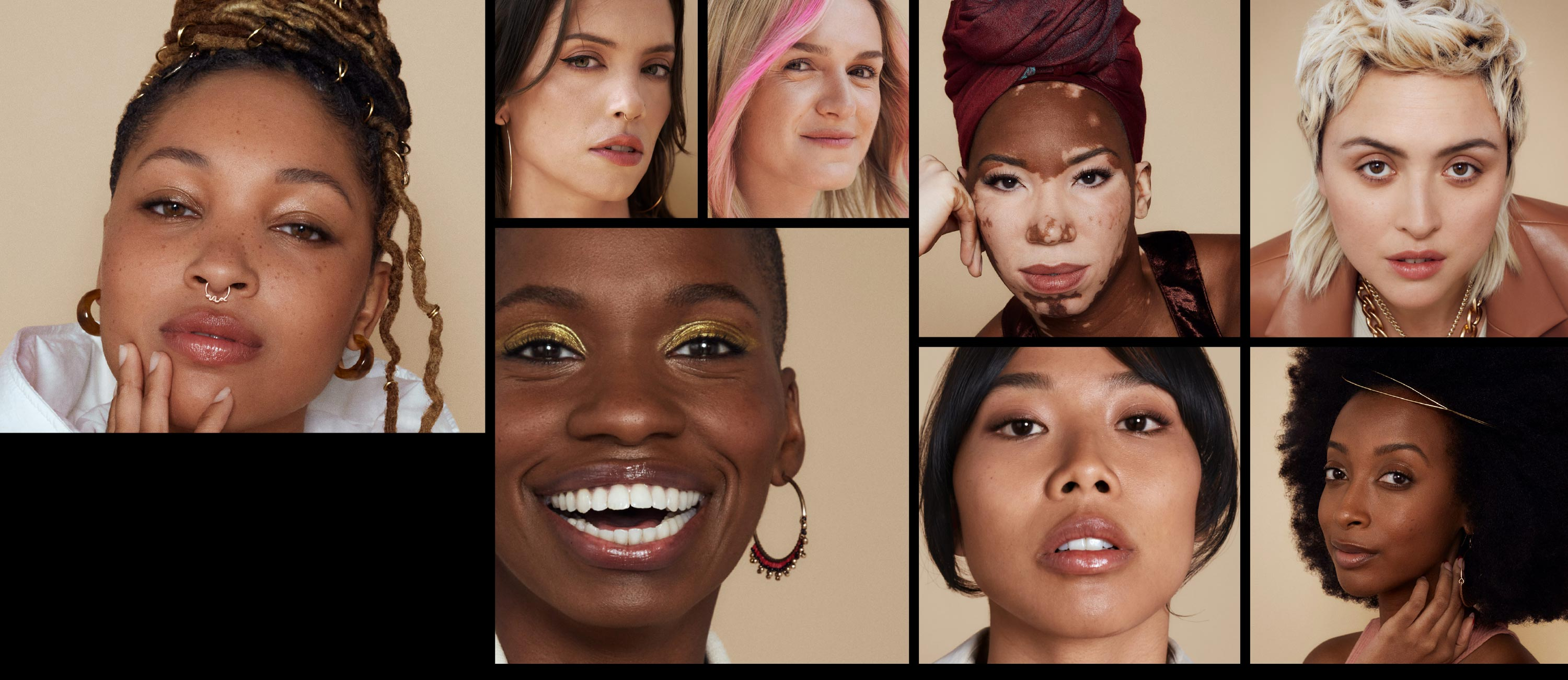 Portraits of eight women of different races. Smiling and posing