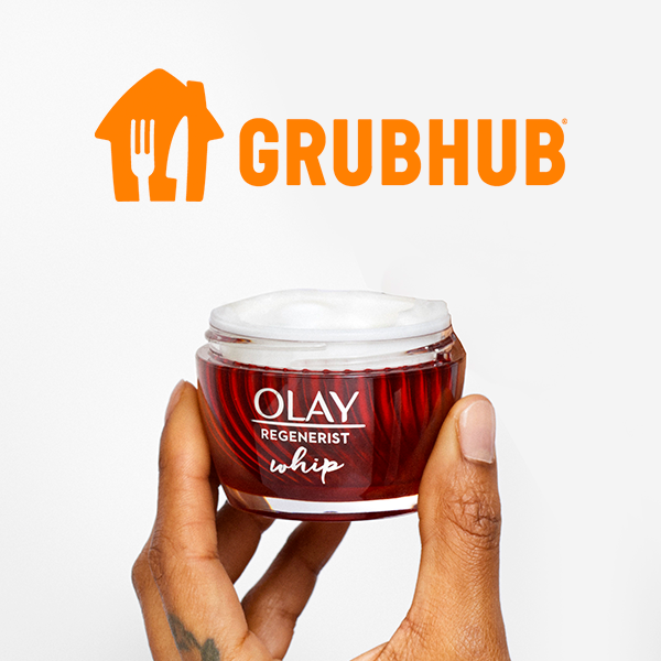 """Spend $25 on Olay products and get a $10 Grubhub Gift Card. Offer ends 10/31/21. OLAY Regenerist Whip Moisturizer with rebate copy, """"GET A $10 GRUBHUB GIFT CARD."""""""