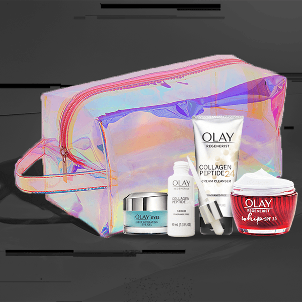 NEW Limited Edition Firming Gift Set (SPF moisturizer, serum, cleanser, eye gel & holographic beauty bag) floating on back background. Price $89.99.