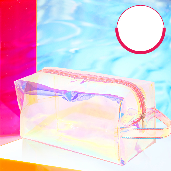 Holographic bag in matching setting featuring promo: free beauty bag with $65 purchase and code: FREEBAG