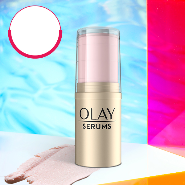 Refreshing Pressed Serum Stick in holographic setting featuring $9.99 price.
