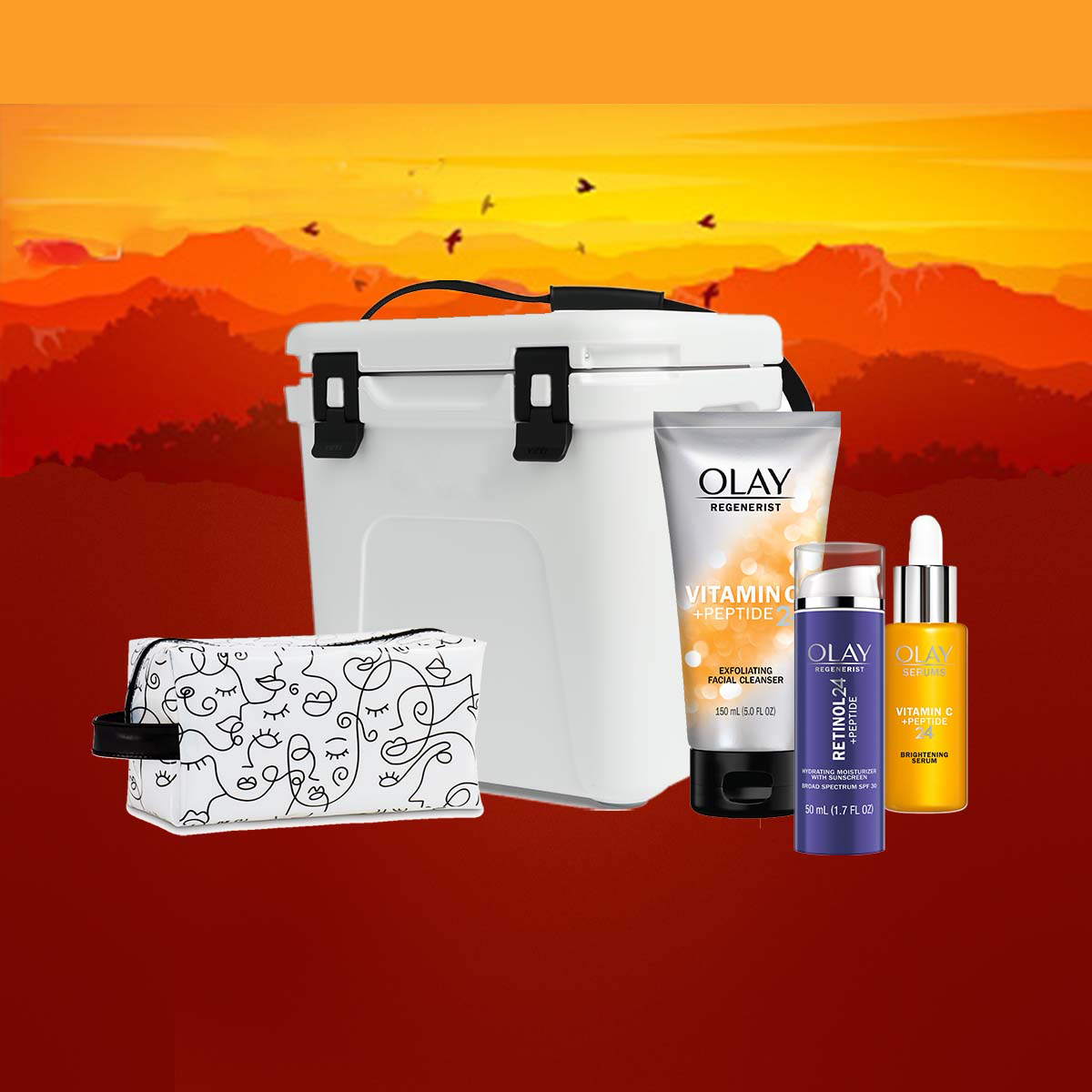 Sign up for a chance to win this Outdoor Adventure Kit & newest Olay Products for a prize value of over $280.