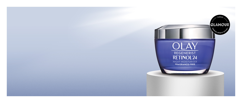 Olay Regenerist Retinol24 winner of the 2020 Glamour beauty award for best retinol cream.