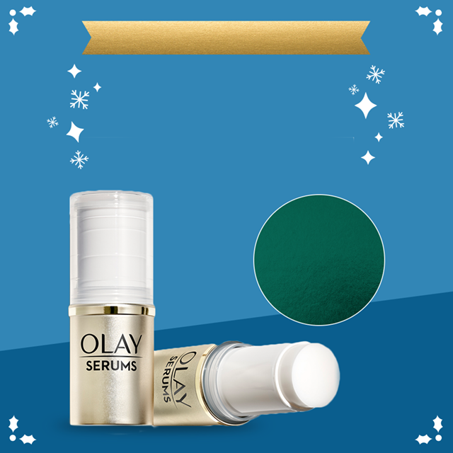 Olay.com Savings! Enjoy 63% off all clearance items. No promo code needed. Brightening Serum Stick featured on blue background with snowflakes.