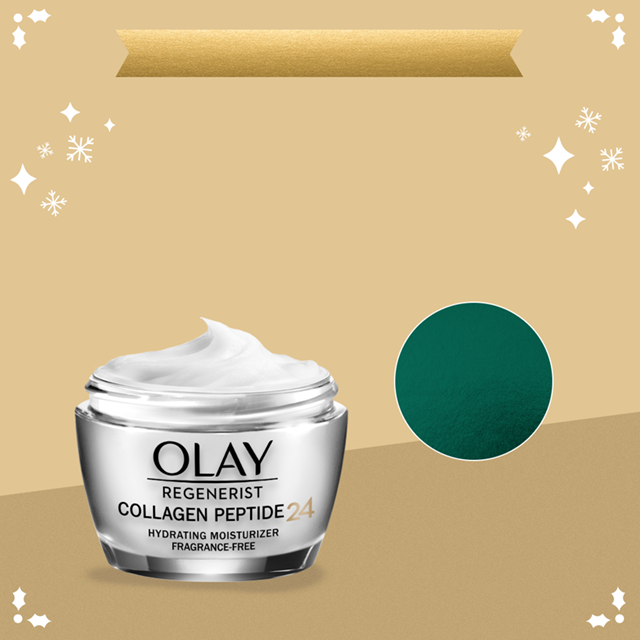 Enjoy extra savings on Olay.com! Get $1 off one skincare item with code SKIN. Collagen Peptide 24 Moisturizer featured on a gold background with snowflakes.​
