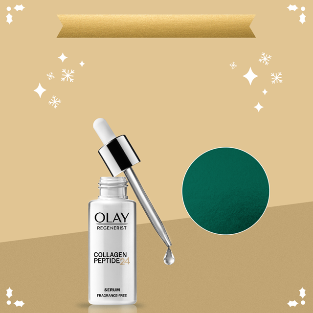 Additional savings on Olay.com! Get $2 off one serum with code SERUM. Collagen Peptide 24 Serum on gold background with white snowflakes.