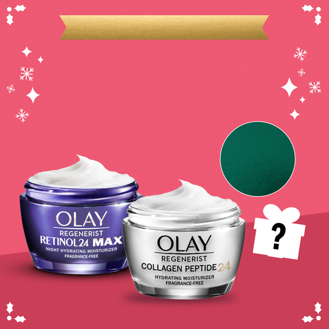 Receive a FREE mystery gift with your $50 purchase, no promo code needed. Retinol 24 MAX night moisturizer and Collagen Peptide 24 moisturizer featured on pink background with snowflakes.