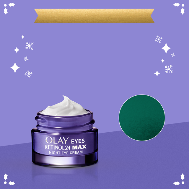 Additional savings on Olay.com! Enjoy $2 off one eye product when you use the code EYES. Retinol24 MAX Eye cream featured in visual with purple background and white snowflakes.​