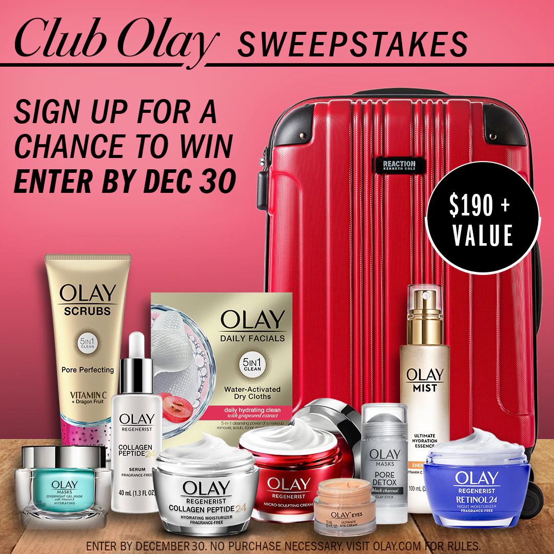 Sign up to club Olay and enter the sweepstakes to win Suitcase of Skincare.  Enter by December 30, no purchase necessary