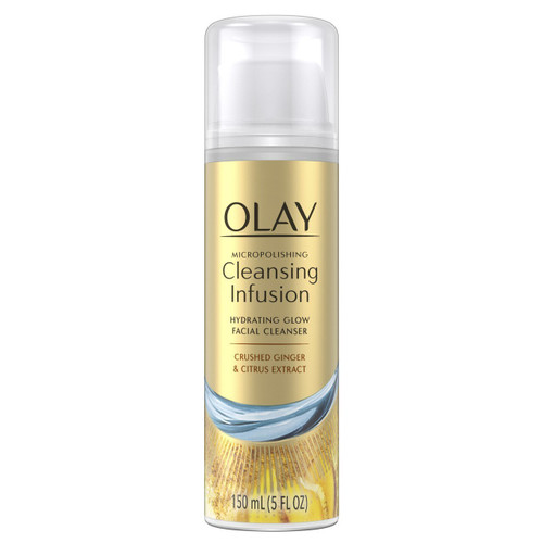 Olay Micropolishing Cleansing Infusion Hydrating Glow Facial Cleanser with Crushed Ginger and Citrus Extract