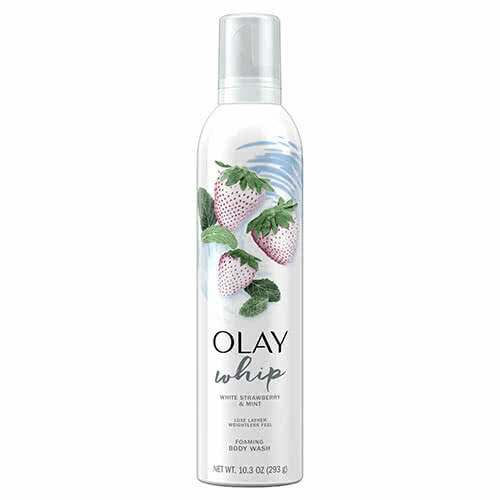 Olay Foaming Whip Body Wash White Strawberry and Mint Scent, 10.3 oz