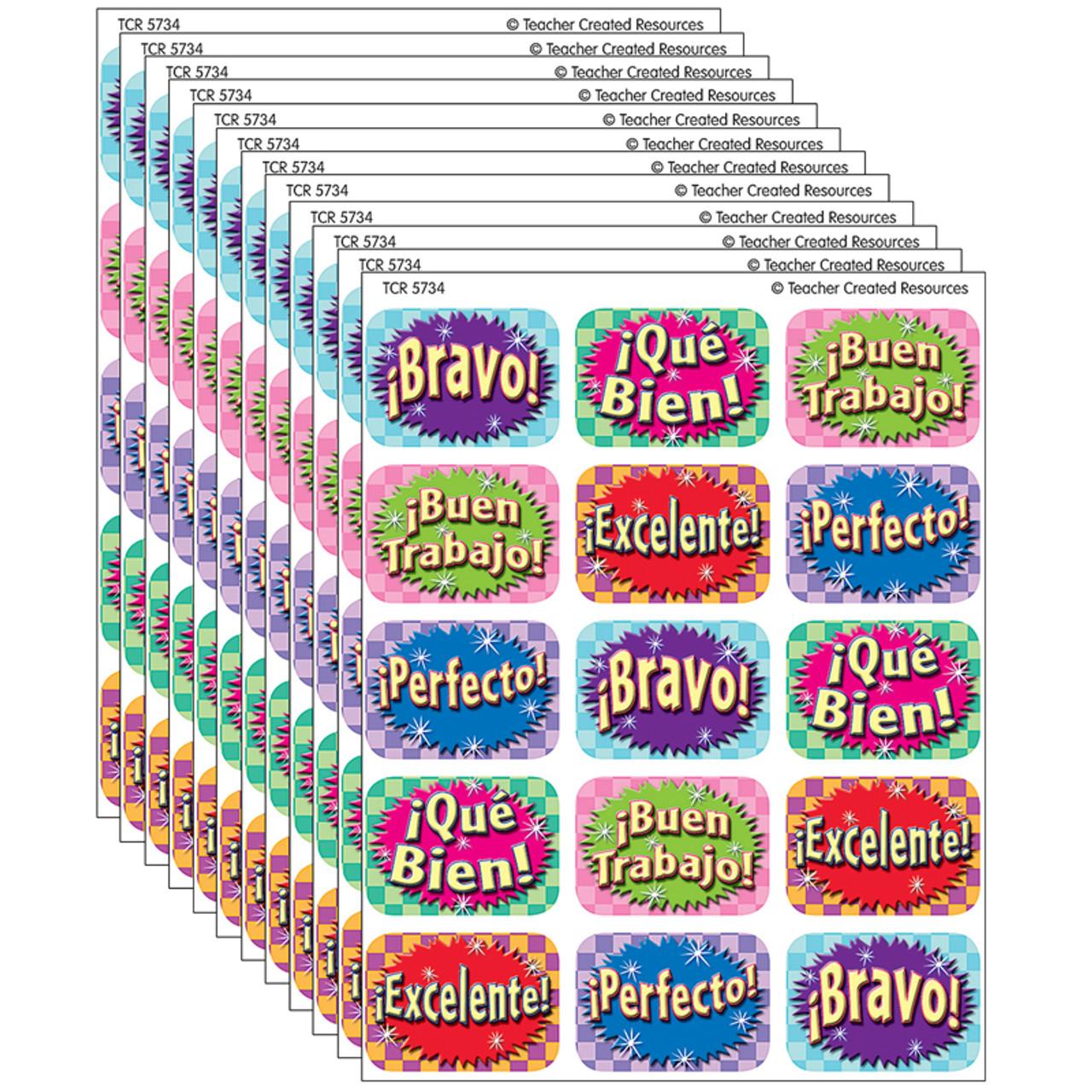 (12 Pk) Good Work Spanish 90 Jumbo Stickers - TCR5734BN