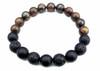"""""""Drake"""" BOYBEADS 10mm bronzite onyx lava handmade beaded bracelet for guys"""