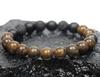 """""""Drake"""" BOYBEADS 8mm or 10mm bronzite onyx lava handmade beaded bracelet for guys"""