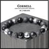 "BOYBEADS ""Cornell Silver"" 10mm Black Onyx, Lava, Hematite Mens Bead Bracelet"