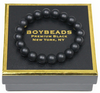 """Joe Matte Black"" BOYBEADS Men's Matte Black Onyx 10MM Beaded Stone Bracelet for Guys"