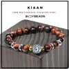 """Kiaan"" 10mm Red Tiger Eye Ohm Spiritual Bracelet Gift"