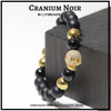 """""""Cranium Noir Onyx"""" BOYBEADS 10mm Black Onyx Skull Pave CZ Mens Bead Bracelet"""